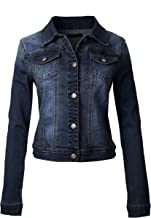 Design by Olivia Women's Classic Casual Vintage Blue Stone Washed Denim Jean Jacket