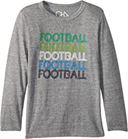 Soft Tri-Blend Football Long Sleeve Crew Neck Tee (Little Kids/Big Kids)
