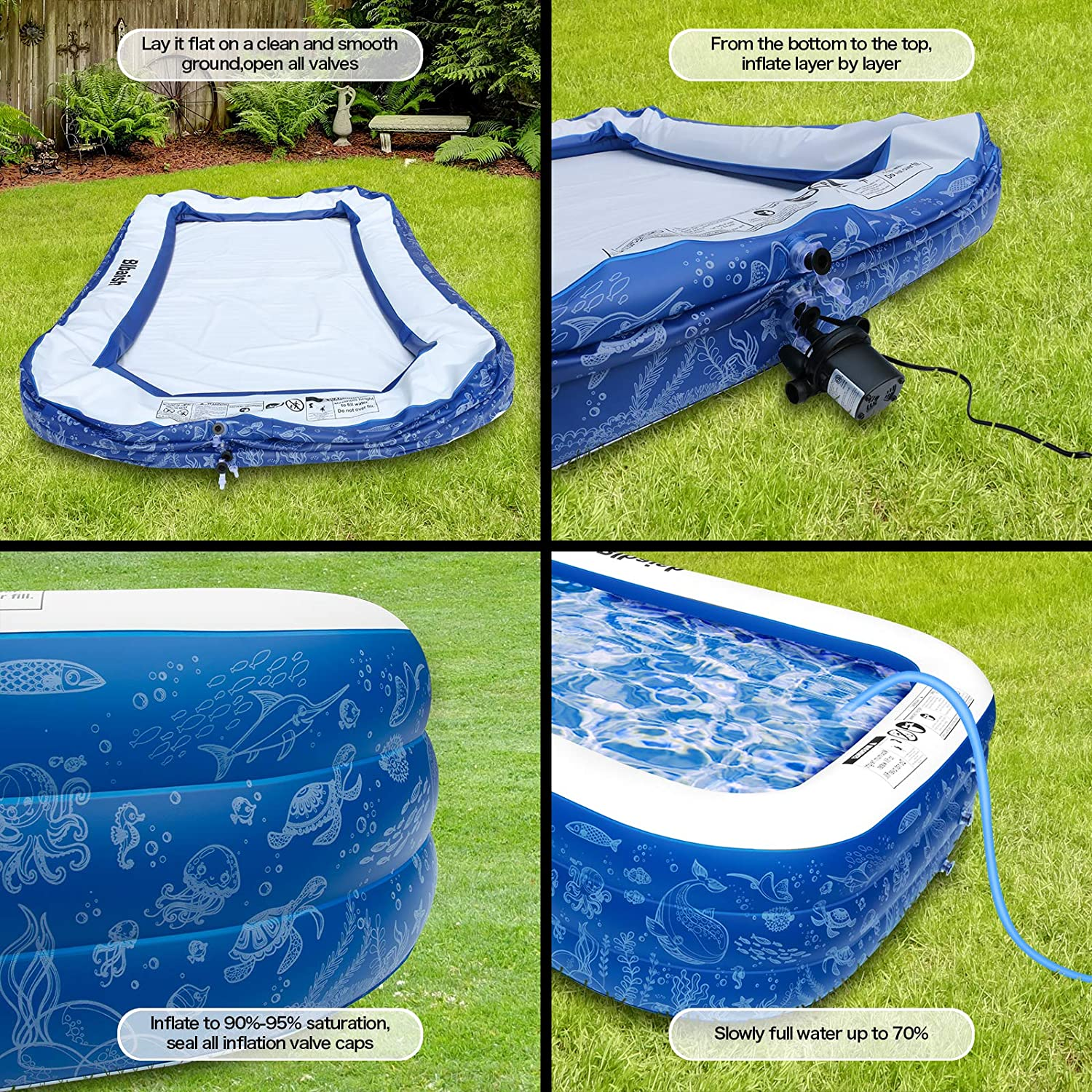 Adult Inflatable Pool for Backyard Blow Up Pool for Baby Inflatable Swimming Pool Garden Kiddie Outdoor Kids Kiddie Pool 95 X 72 X 22 Full-Sized Family Pool Ground /& Summer Water Party