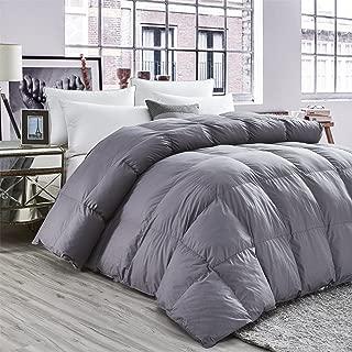 LUXURIOUS All-Season Goose Down Comforter Queen Size Duvet Insert, Classic Gray, Premium Baffle Box, 1200 Thread Count 100% Egyptian Cotton Cover, 750+ Fill Power, 55 oz Fill Weight (Queen, Gray)