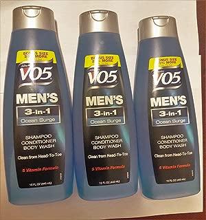 3 Pk, Alberto VO5 Men's 3-in-1 Shampoo Conditioner Body Wash , Ocean Surge 15 fl. oz.