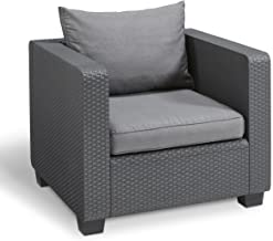 Keter Salta All Weather Outdoor Patio Furniture Armchair with Sunbrella Cushions in a Resin Plastic Wicker Pattern, Modern Graphite/Cool Grey