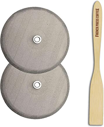 French Press Replacement Filter Screen Kit,  Fits Bodum French Press,  4 diameter (2 filters),  Universal 8-cup Stainless Steel Mesh Filter