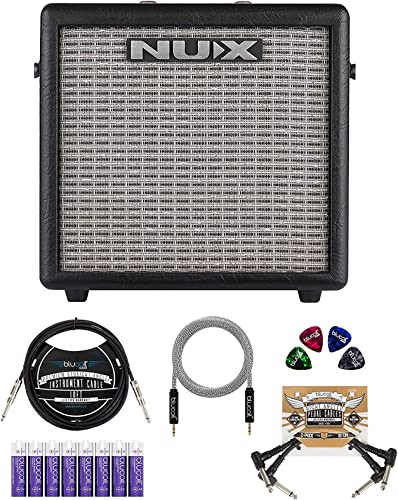"""NUX Mighty 8BT 8-watt Portable Electric Guitar Amplifier with Bluetooth Bundle with Blucoil 10' Straight Instrument Cable (1/4""""), 2x Patch Cables, 5' Aux Cable, 8 AA Batteries, and 4x Guitar Picks"""