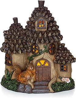 VP Home Pinecone Squirrel Cottage Solar Garden Light