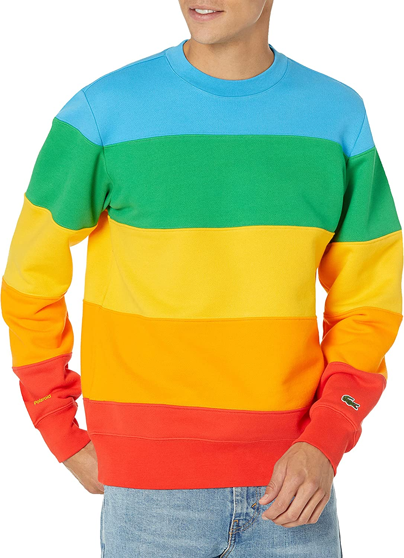 Lacoste Men's Long Sleeve Polaroid Colorblock Crewneck Sweatshirt