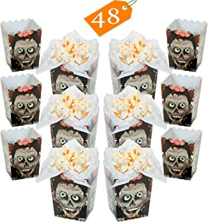 Mini Zombie Head Popcorn Boxes BULK 48 Pack - Halloween Zombie Themed Birthday Party Favors Supplies for Kids Event Decoration - 3