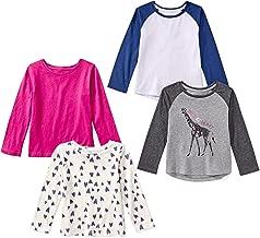 Amazon Brand - Spotted Zebra Girls' Toddler & Kids 4-Pack Long-Sleeve T-Shirts