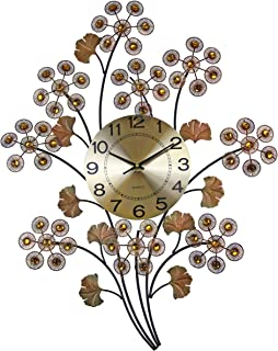 IMPORTED GIFT DEPOT Elegant Bejeweled Branch Wall Clock in Color Bronze with Citrine Color Crystal Accents