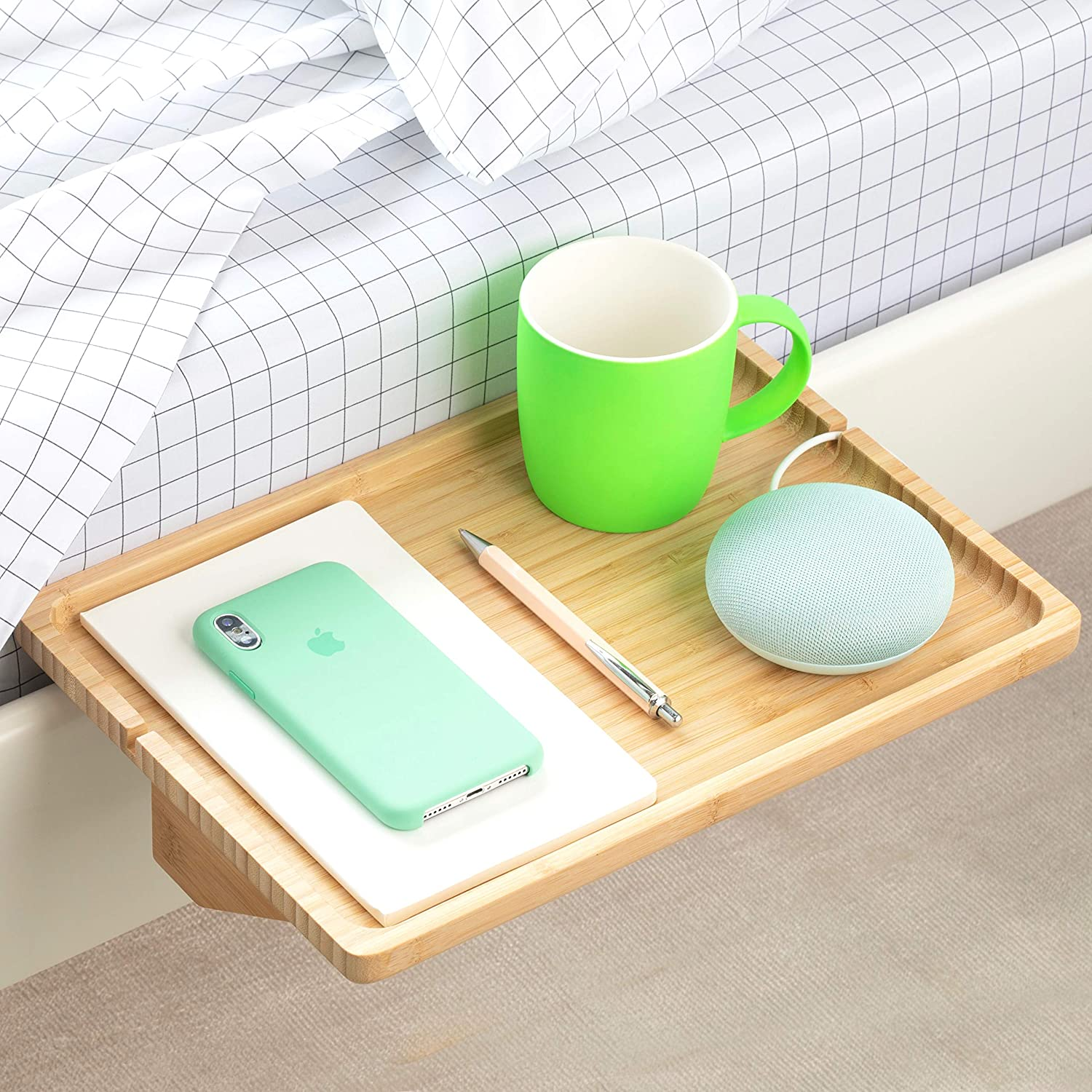 BedShelfie Minimalist The Original Bedside Shelf - 9 colors   3 Sizes - AS SEEN ON Business Insider (Minimalist Style, Natural)