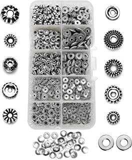 900 Metal Spacers for Jewelry Making Adults, 500 Silver Spacer Beads & 400 Steel Disc Charm Spacers, Bulk Beads Jewelry Findings & Supplies for Bracelets and Necklace Projects, Bead Container Box