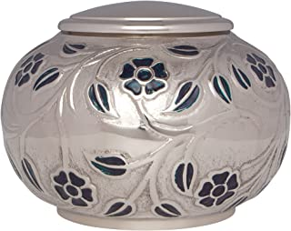 Funeral Urn - Cremation Urn for Human Ashes - Low Profile, Stable, Hand Made in Brass and Hand Engraved and Enamelled - (Silver Vines XL). Fits cremated remains of adults up to 80kg