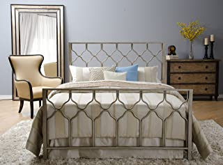 In Style Furnishings Classic Geometric Honeycomb Bed Set in Brushed Gold/Bronze in Queen Size (Includes Tools For Assembly)