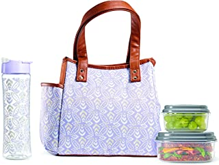Fit & Fresh Insulated Lunch Bag Kit, includes Matching Bottle and Containers, Westerly Lavender Stamped Rings