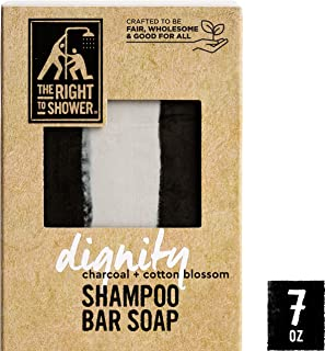 The Right To Shower Dignity Shampoo Bar & Bar Soap Charcoal and Cotton Blossom Vegan 7 oz