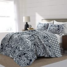 Lush Decor, Navy Aubree Quilt Paisley Damask Print Pattern Reversible 3 Piece Lightweight Bedding Blanket Bedspread Set, F...