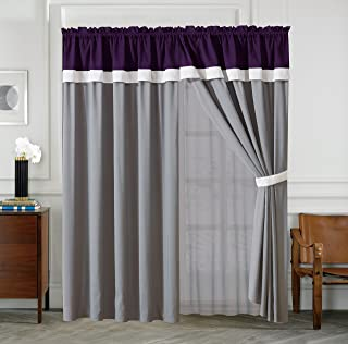 All American Collection New 7 Piece Embroidered Over-Sized Comforter Set (Curtain, Purple/Grey)