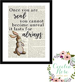 Once You Are Real You Cannot Become Unreal It Lasts For Always The Velveteen Rabbit Nursery Farmhouse Style Upcycled Vintage Book Page Art Unframed Print