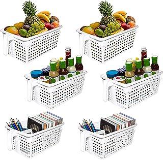 Corbeille Boîte de Rangement Blanche avec Poignée (6 Pack) - 28x13x11cm Organisateur Plastique de Cuisine - Paniers Empila...