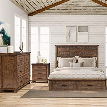 LZ LEISURE ZONE Bedroom Sets, 11 Pieces Bedroom Sets with Queen Size Bed,  Night Stand and Dresser, Rustic Reclaimed Solid Wood Framhouse Bed Room Set