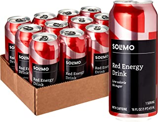 Amazon Brand - Solimo Red Energy Drink, Sugar Free, 16 Fluid Ounce (Pack of 12)