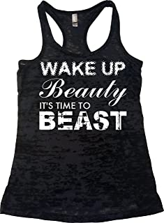 Womens Workout Clothes - Wake up Beauty Time to Beast - Burnout Tank Top