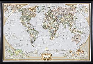 Craig Frames Wayfarer, Executive World Push Pin Travel Map, Brazilian Walnut frame and Pins, 24 by 36-Inch (Renewed)