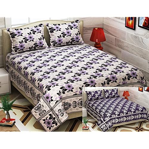05c31dc51a Fresh From Loom Cotton and Silk Reversable Double Bedsheet 500 TC (Purple  Light, 90x100