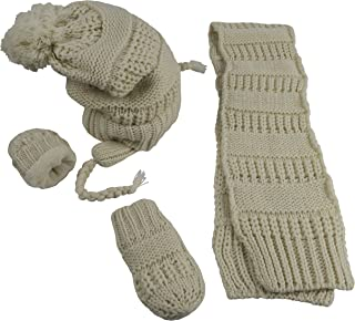 N'Ice Caps Little Girls and Infants Solid Cable Knit Hat/Scarf/Mitten Accessory Set