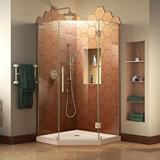 DreamLine Prism Plus 40 in. x 74 3/4 in. Frameless Neo-Angle Shower Enclosure in Brushed Nickel with Biscuit Base