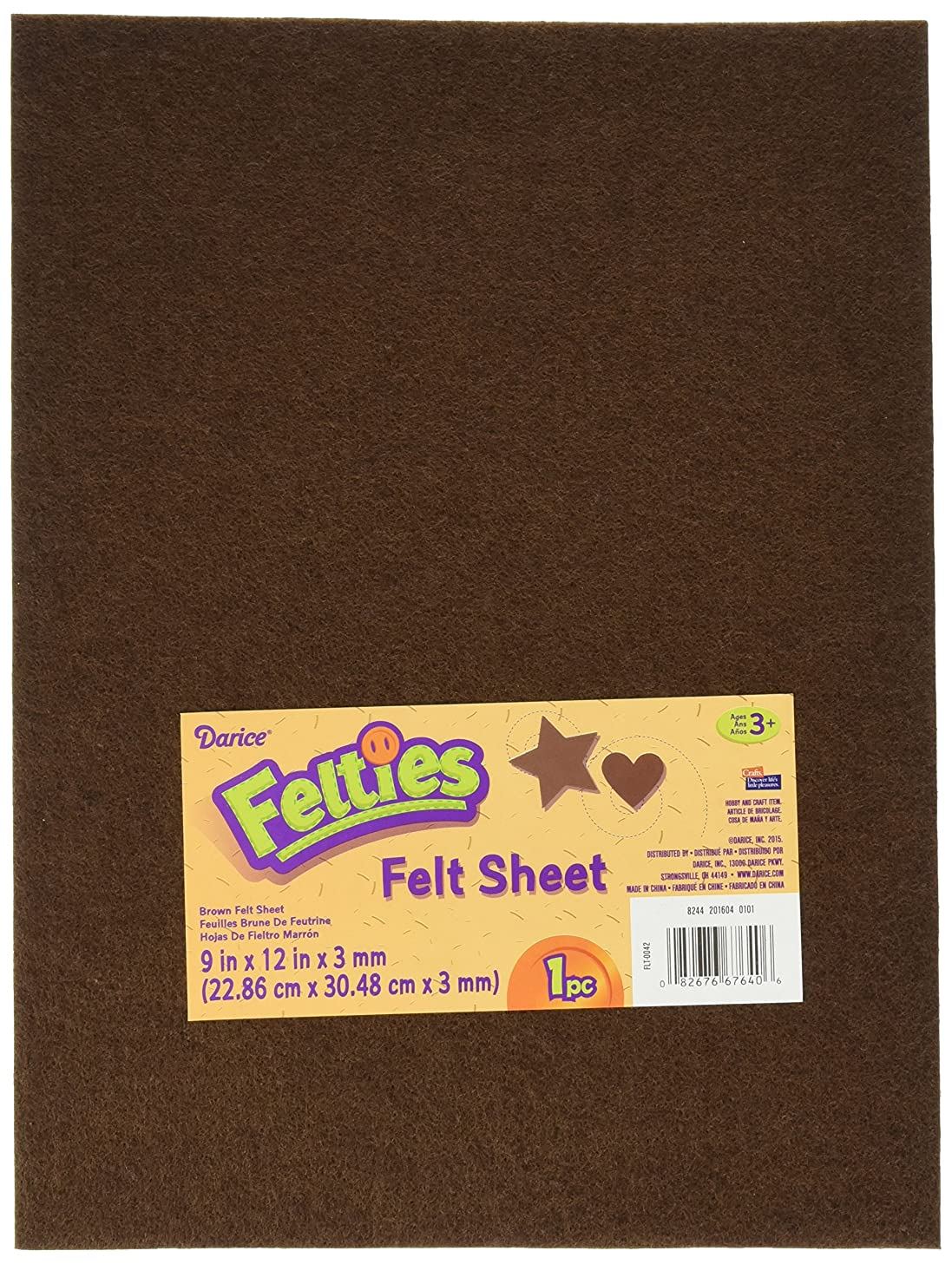 Darice 9 by 12 inch, Felties Felt Sheet, Brown, 1 (9