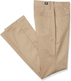 Lee Uniforms Men's Slim 5 Pocket Pant Polo Shirt, Khaki, 30