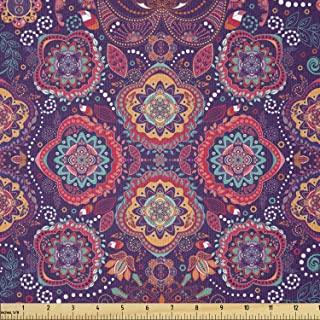 Lunarable Batik Fabric by The Yard, Eastern Droplet-Shaped Paisley Inspired Traditional Forms Vivid Colors Image, Stretch ...