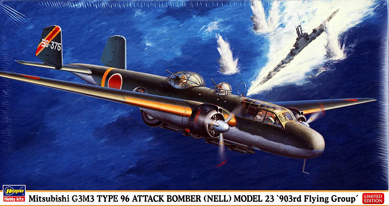 gran selección y entrega rápida Hasegawa Modelo Modelo Modelo avión Mitsubishi G3M3, tipo 96, bombardero de ataque (Nell), modelo 23, escala 1 72  hermoso
