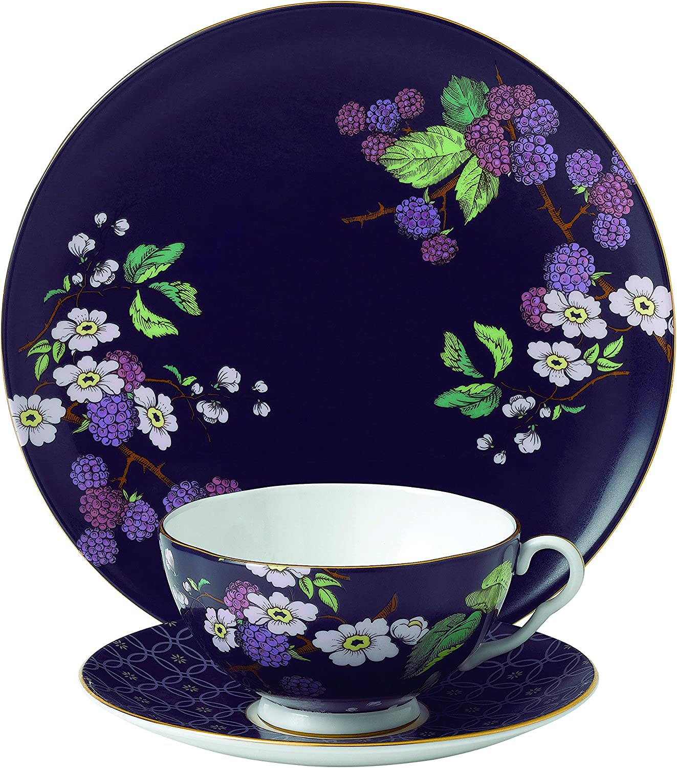 Wedgwood 3 Piece Garden Tea Plate Set, Blackberry