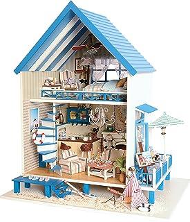 DIY miniature maison de poupée en bois fait main Kit de plage étages Villa modèle & Meubles/Boîte à musique