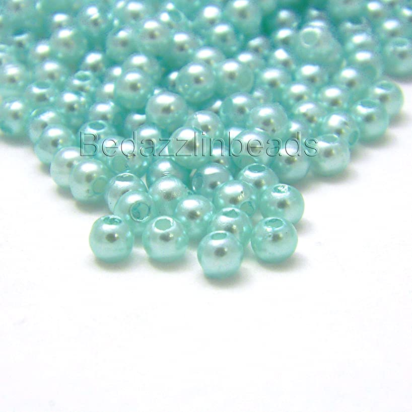 700 Little 4mm Round Plastic Acrylic Faux Pearl Beads With Luster Finish (Aqua Blue)