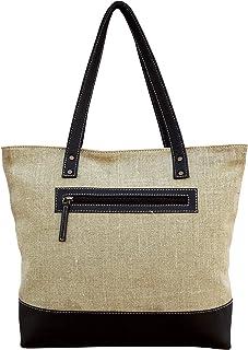 VLiving Lino y piel sintética bolsa Natural con colores brillantes Classic Everyday bolsa.