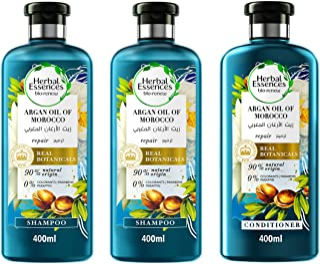 Herbal Essences Bio:Renew Natural Shampoo + Shampoo + Conditioner with Argan Oil of Morocco for Hair Repair 400ml + 400ml...