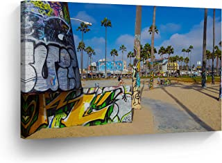 Los Angeles Wall Art Colorful Graffiti with Palm Trees at Venice Beach Canvas Print California Home Decor Artwork Gallery Wrapped Wood Stretched and Ready to Hang - %100 Handmade in the USA - 11x17
