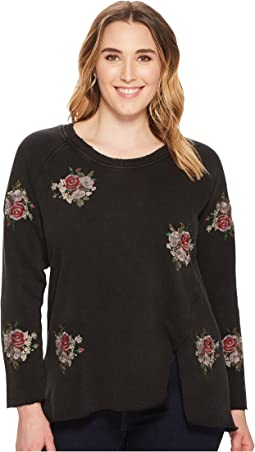Lucky Brand - Plus Suze Embroidered Flowers Pullover Top