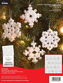 Bucilla 86984E Elegant Christmas Snowflakes Felt Applique Ornament Kit, 16 Piece