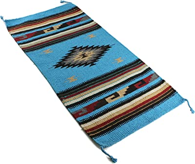 Onyx Arrow Southwest Décor Area Rug, 20 x 40 Inches, Center Diamond, Sky Blue/Black