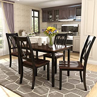 Merax Dining Table Set Kitchen Dining Table Set for 4, Wood Table and Chairs Set (Black & Cherry)
