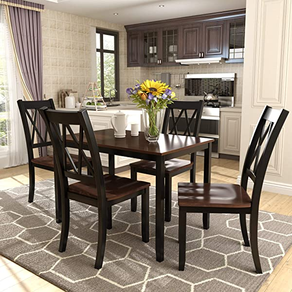 Merax Dining Table Set Kitchen Dining Table Set For 4 Wood Table And Chairs Set Black Cherry