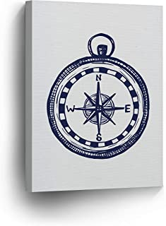Beautiful Compass Painting Navy Blue Illustration White Background Nautical Decor Canvas Print Coastal Wall Art Home Decoration Stretched Ready to Hang-%100 Handmade in The USA- 12x8