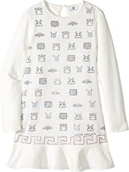 Versace Kids - Long Sleeve Embellished Robot Dropwaist Dress (Big Kids)