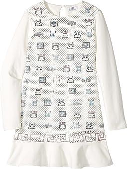 Versace Kids - Long Sleeve Embellished Robot Dropwaist Dress (Big Kids)