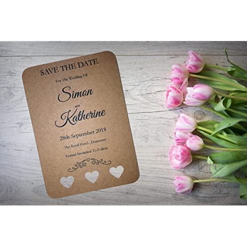 Personalised Save the Date Card CLASSIC GREY//PINK /& WHITE SIMPLE packs of 10