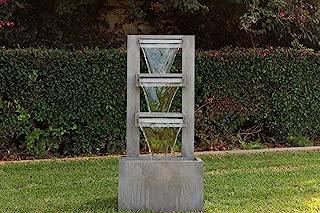Alpine Corporation 4-Tier Modern Industrial Metal Fountain - Indoor/Outdoor Waterfall for Garden, Patio, Deck, Porch - Yard and Home Art Decor